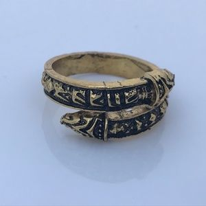 Women Rings Snake Pattern Gold Tone Antique Style